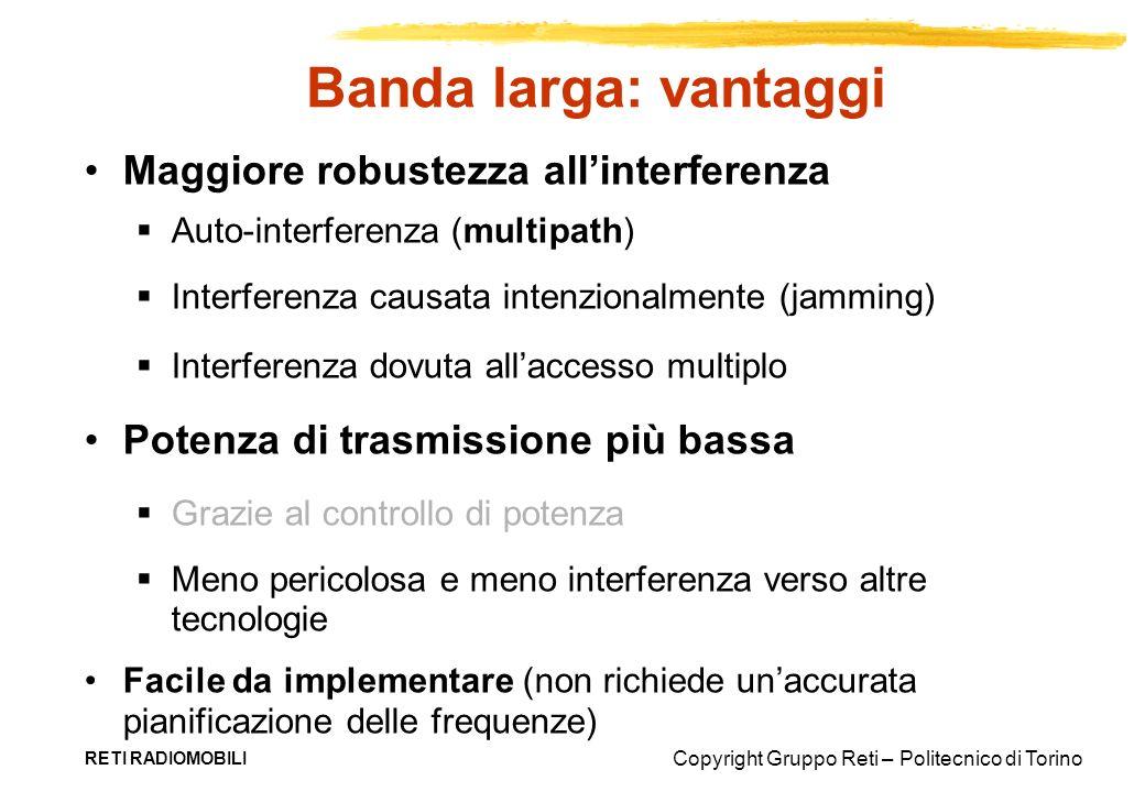 Banda larga: vantaggi Maggiore robustezza all'interferenza