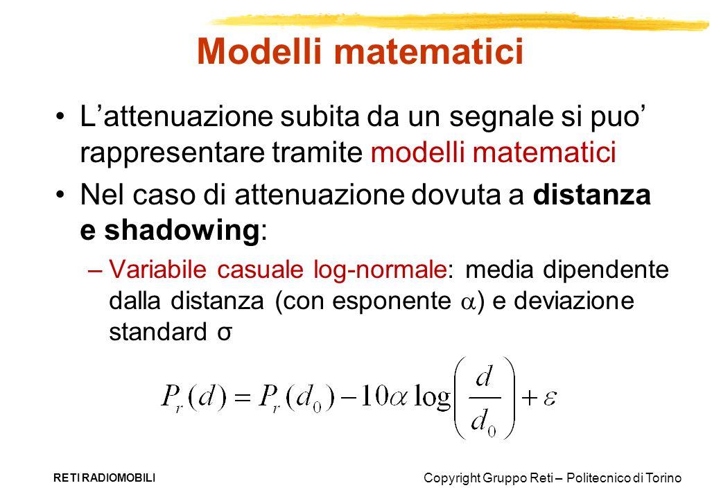 Modelli matematici L'attenuazione subita da un segnale si puo' rappresentare tramite modelli matematici.