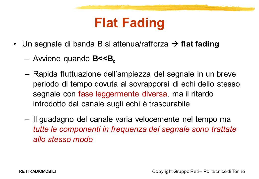 Flat Fading Un segnale di banda B si attenua/rafforza  flat fading