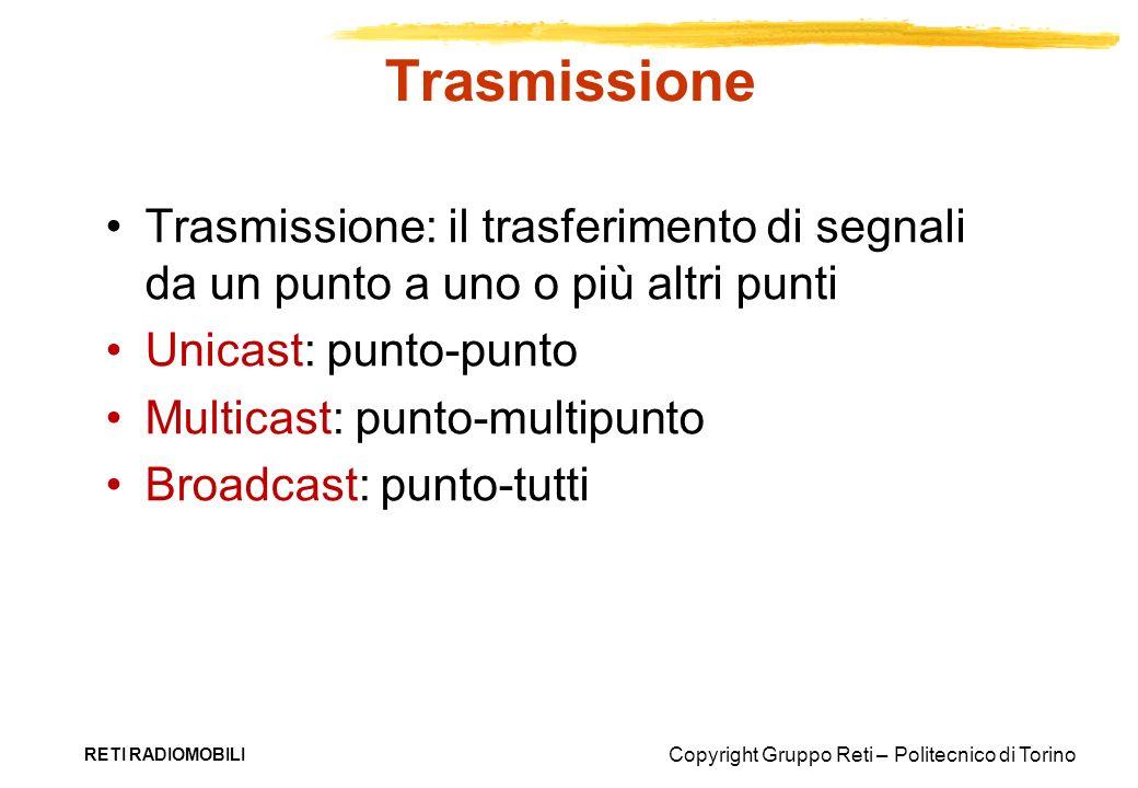 Trasmissione Trasmissione: il trasferimento di segnali da un punto a uno o più altri punti. Unicast: punto-punto.