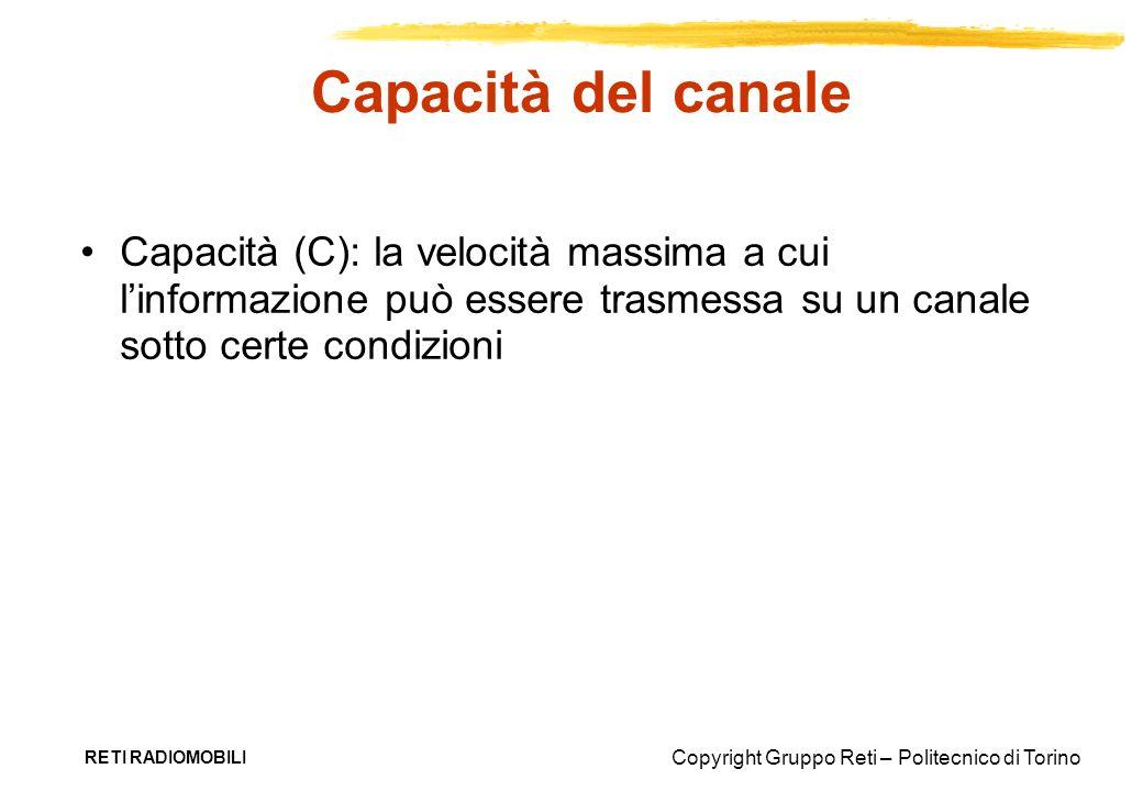 Capacità del canale Capacità (C): la velocità massima a cui l'informazione può essere trasmessa su un canale sotto certe condizioni.