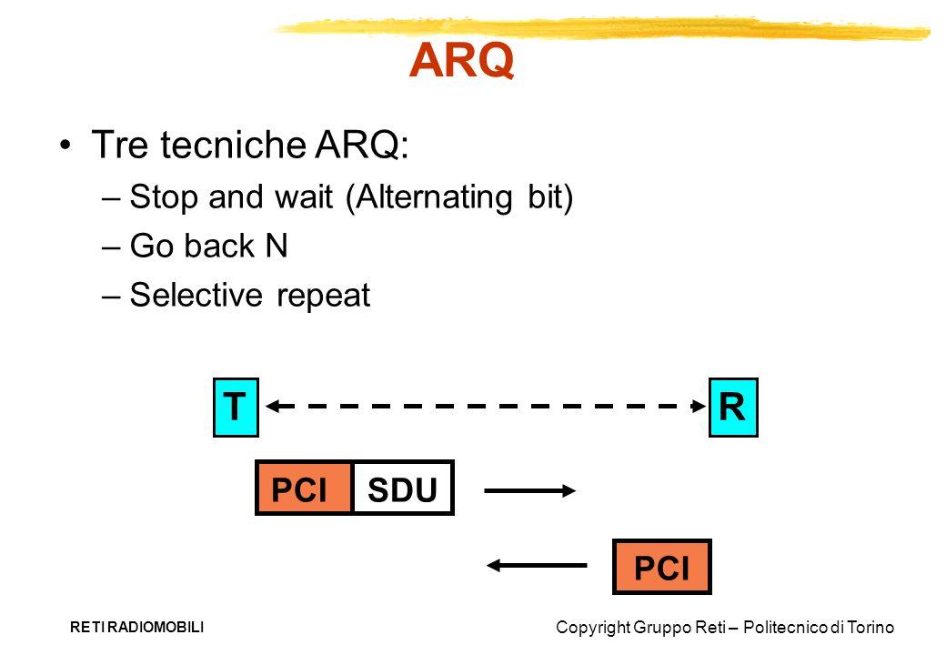ARQ Tre tecniche ARQ: R T Stop and wait (Alternating bit) Go back N