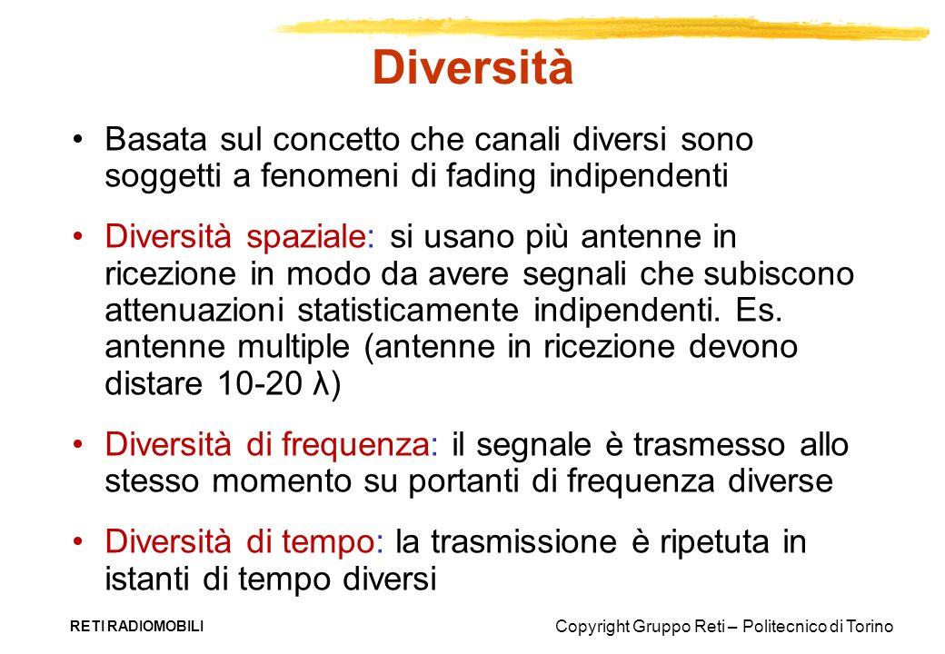 Diversità Basata sul concetto che canali diversi sono soggetti a fenomeni di fading indipendenti.