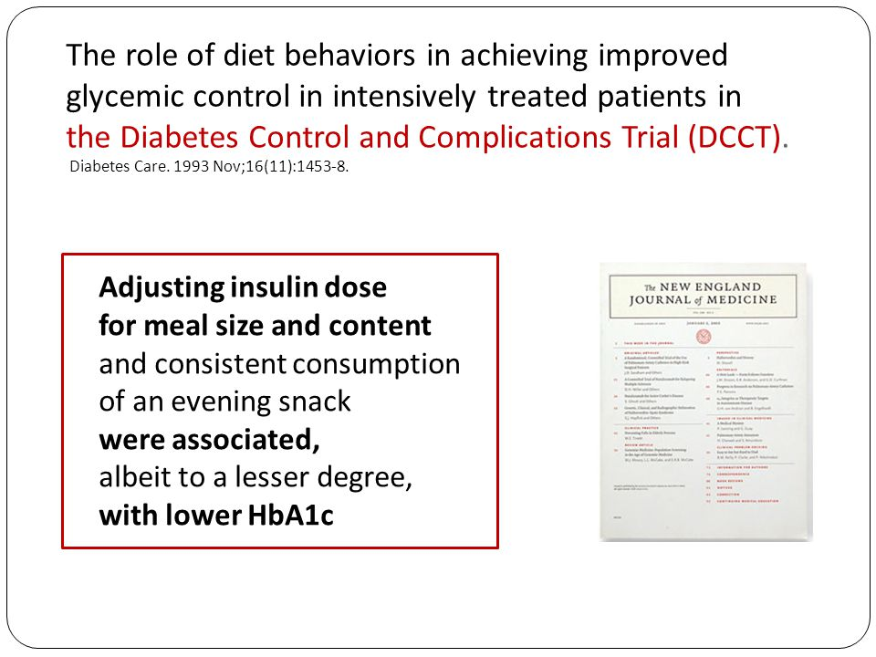 The role of diet behaviors in achieving improved glycemic control in intensively treated patients in the Diabetes Control and Complications Trial (DCCT). Diabetes Care. 1993 Nov;16(11):1453-8.