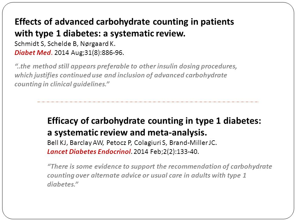 Effects of advanced carbohydrate counting in patients with type 1 diabetes: a systematic review.