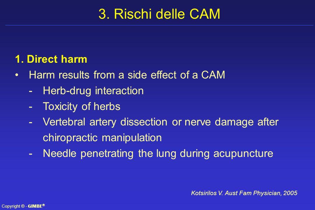 3. Rischi delle CAM 1. Direct harm