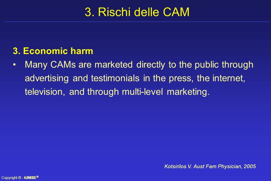 3. Rischi delle CAM 3. Economic harm