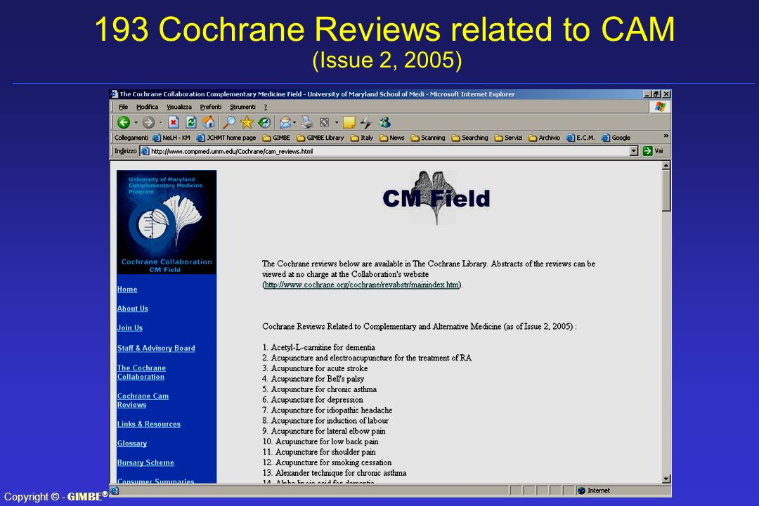 193 Cochrane Reviews related to CAM