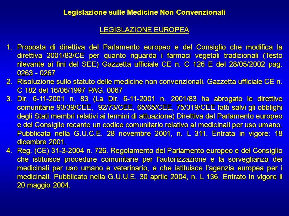 Legislazione sulle Medicine Non Convenzionali