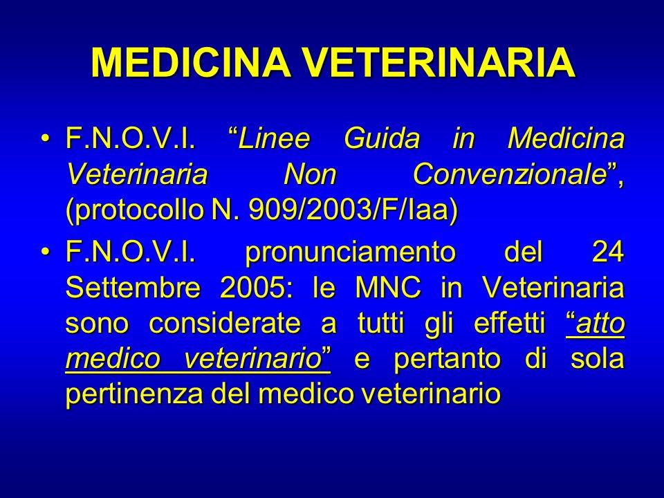 MEDICINA VETERINARIA F.N.O.V.I. Linee Guida in Medicina Veterinaria Non Convenzionale , (protocollo N. 909/2003/F/Iaa)