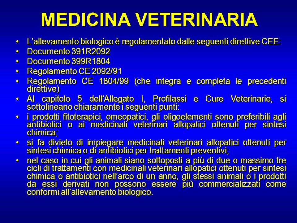 MEDICINA VETERINARIA L'allevamento biologico è regolamentato dalle seguenti direttive CEE: Documento 391R2092.