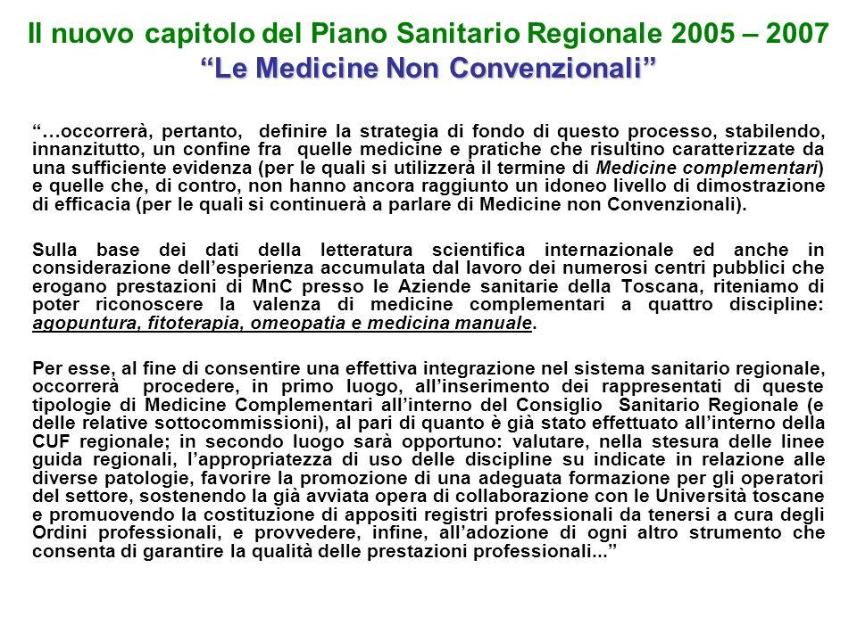 Il nuovo capitolo del Piano Sanitario Regionale 2005 – 2007 Le Medicine Non Convenzionali