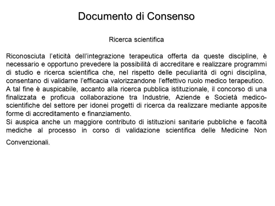 Documento di Consenso Ricerca scientifica