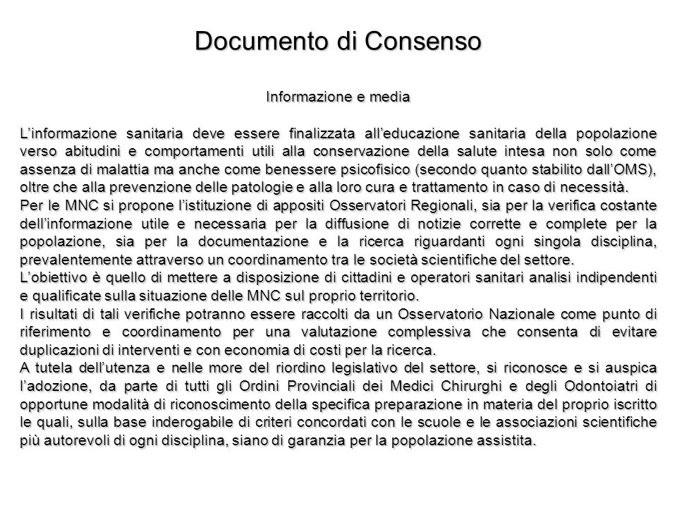 Documento di Consenso Informazione e media