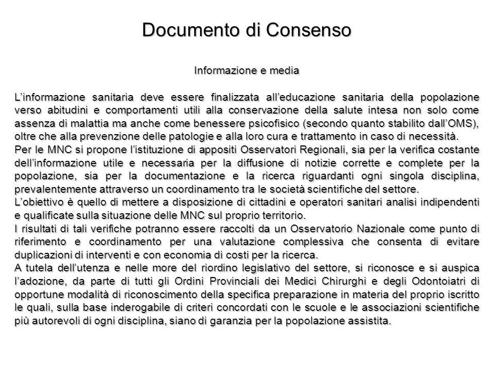 Documento di Consenso Informazione e media