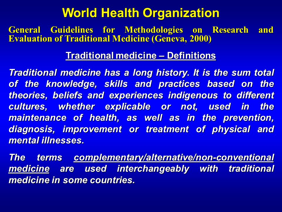 World Health Organization Traditional medicine – Definitions