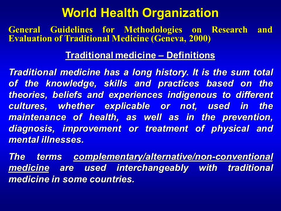 World Health Organization Traditional medicine – Definitions
