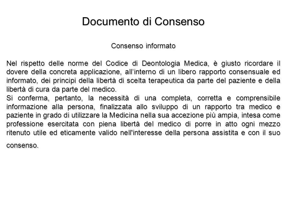 Documento di Consenso Consenso informato