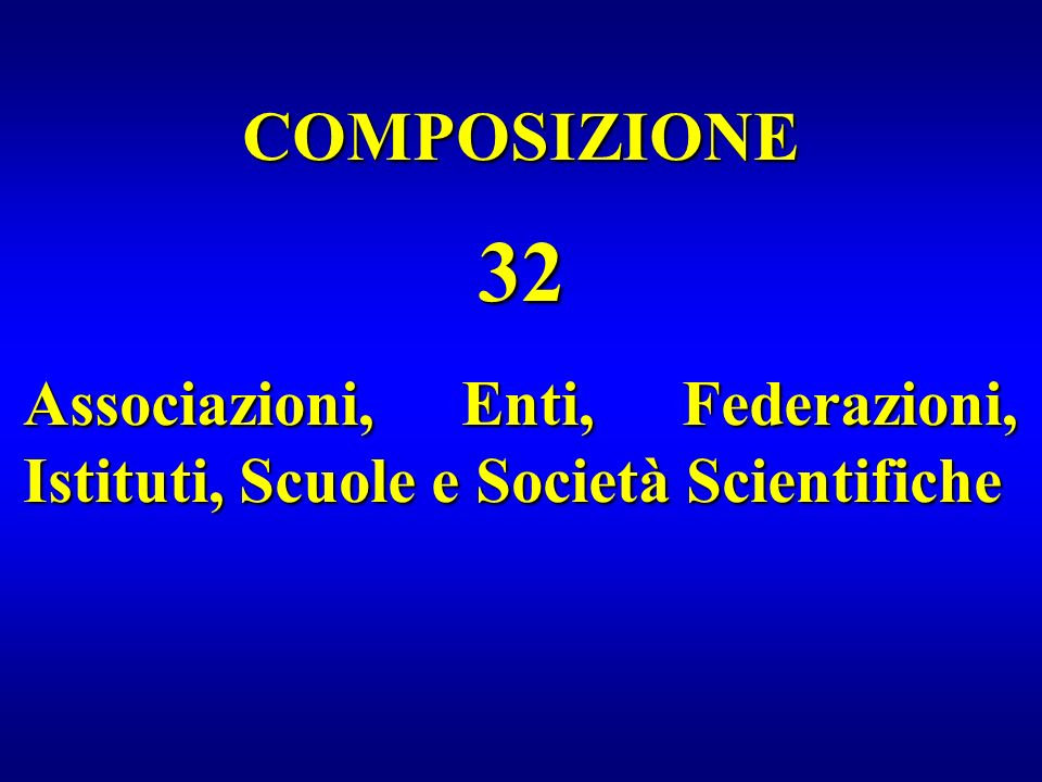 COMPOSIZIONE 32 Associazioni, Enti, Federazioni, Istituti, Scuole e Società Scientifiche