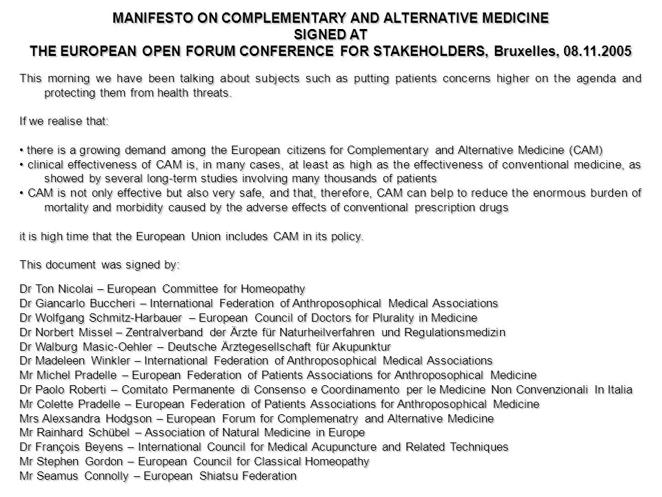 MANIFESTO ON COMPLEMENTARY AND ALTERNATIVE MEDICINE