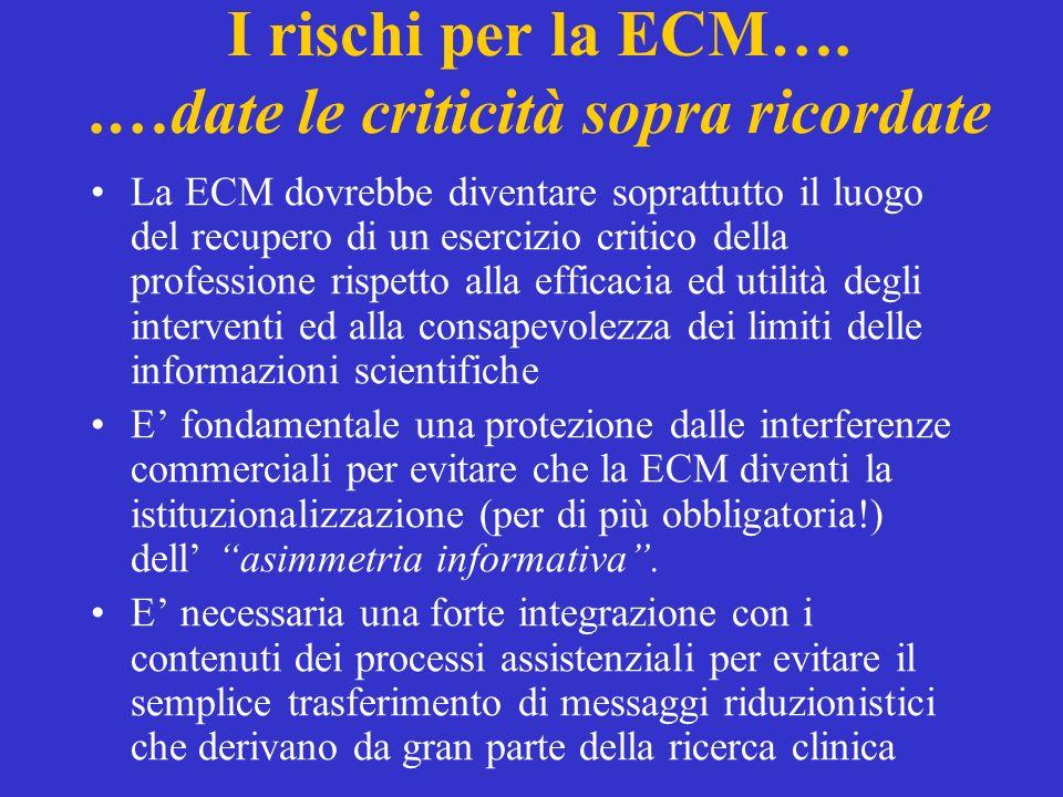 I rischi per la ECM…. .…date le criticità sopra ricordate