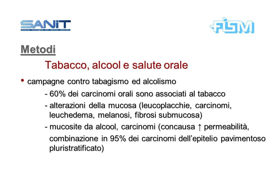 Tabacco, alcool e salute orale campagne contro tabagismo ed alcolismo