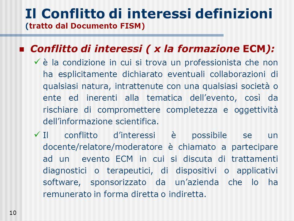 Il Conflitto di interessi definizioni (tratto dal Documento FISM)