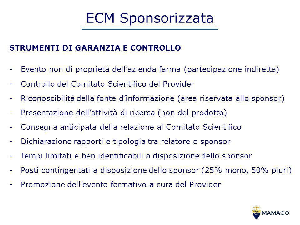 ECM Sponsorizzata STRUMENTI DI GARANZIA E CONTROLLO