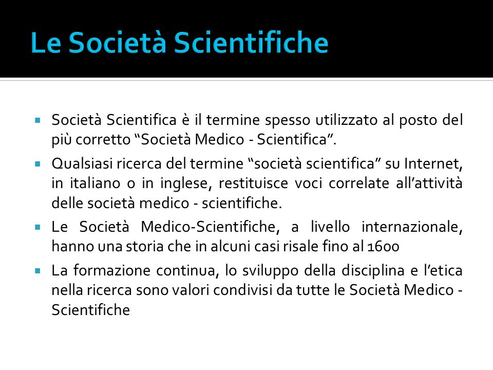 Le Società Scientifiche