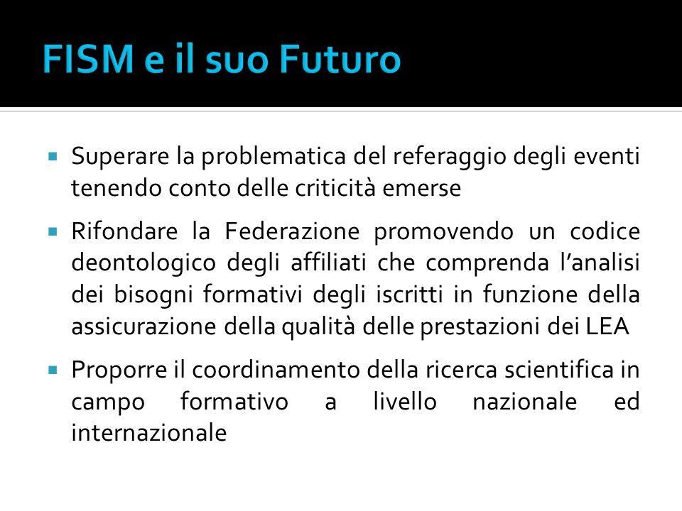FISM e il suo Futuro Superare la problematica del referaggio degli eventi tenendo conto delle criticità emerse.