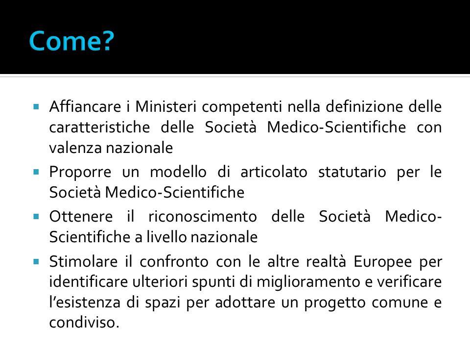 Come Affiancare i Ministeri competenti nella definizione delle caratteristiche delle Società Medico-Scientifiche con valenza nazionale.