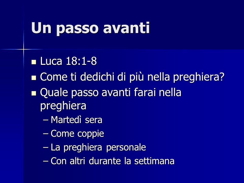 Un passo avanti Luca 18:1-8 Come ti dedichi di più nella preghiera
