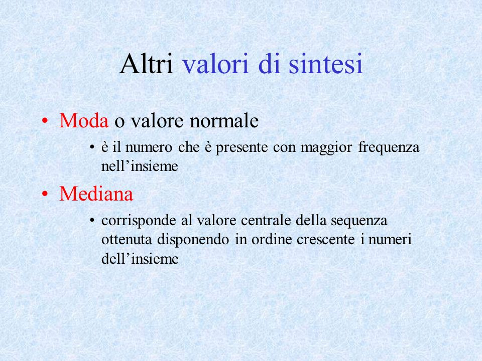 Altri valori di sintesi