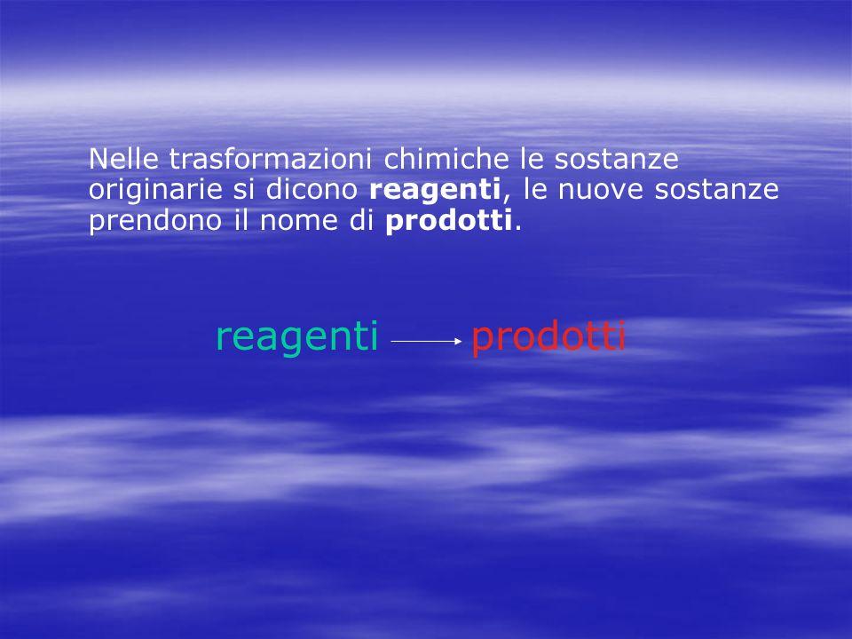 Nelle trasformazioni chimiche le sostanze originarie si dicono reagenti, le nuove sostanze prendono il nome di prodotti.
