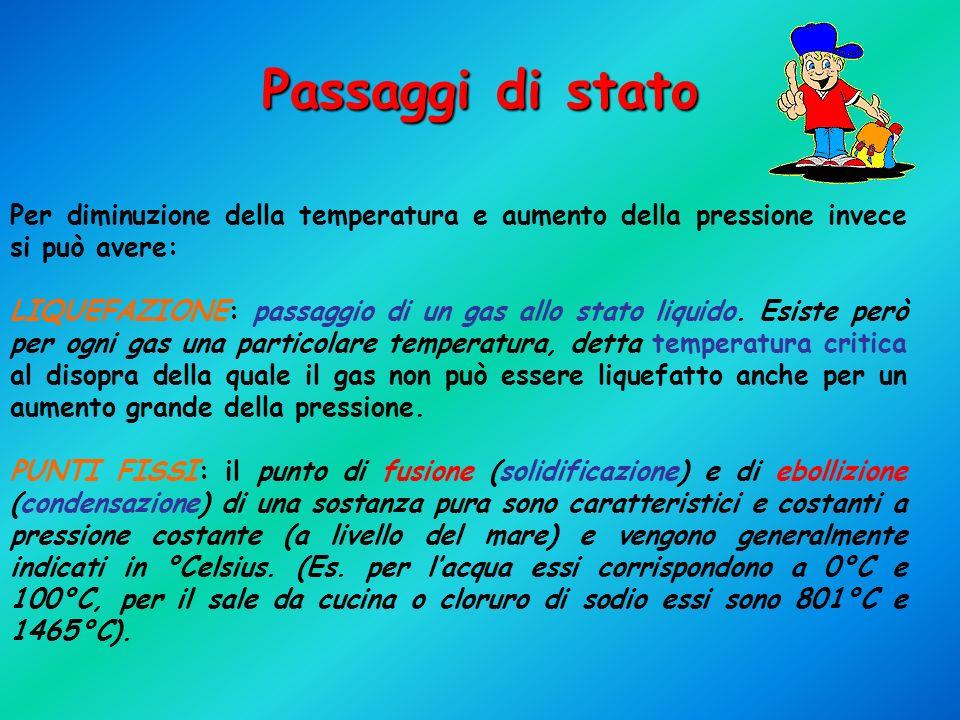 Passaggi di stato Per diminuzione della temperatura e aumento della pressione invece si può avere: