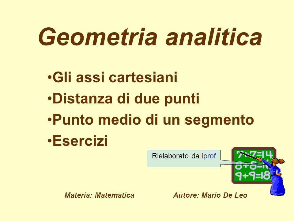 Geometria analitica Gli assi cartesiani Distanza di due punti