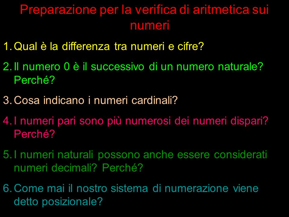 Preparazione per la verifica di aritmetica sui numeri