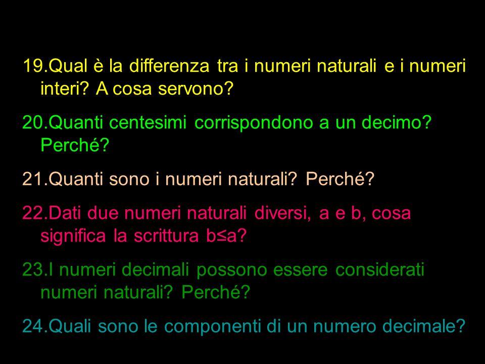 Qual è la differenza tra i numeri naturali e i numeri interi