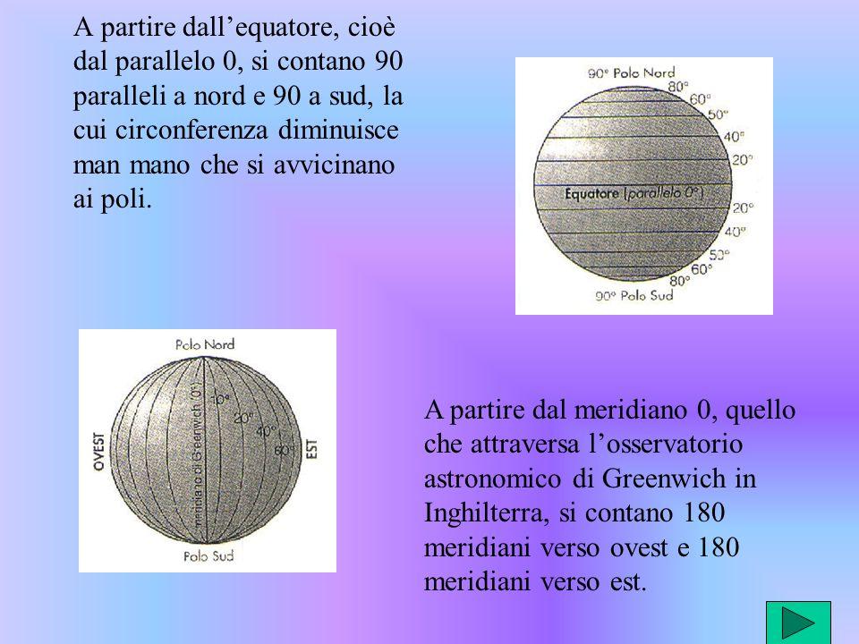 A partire dall'equatore, cioè dal parallelo 0, si contano 90 paralleli a nord e 90 a sud, la cui circonferenza diminuisce man mano che si avvicinano ai poli.