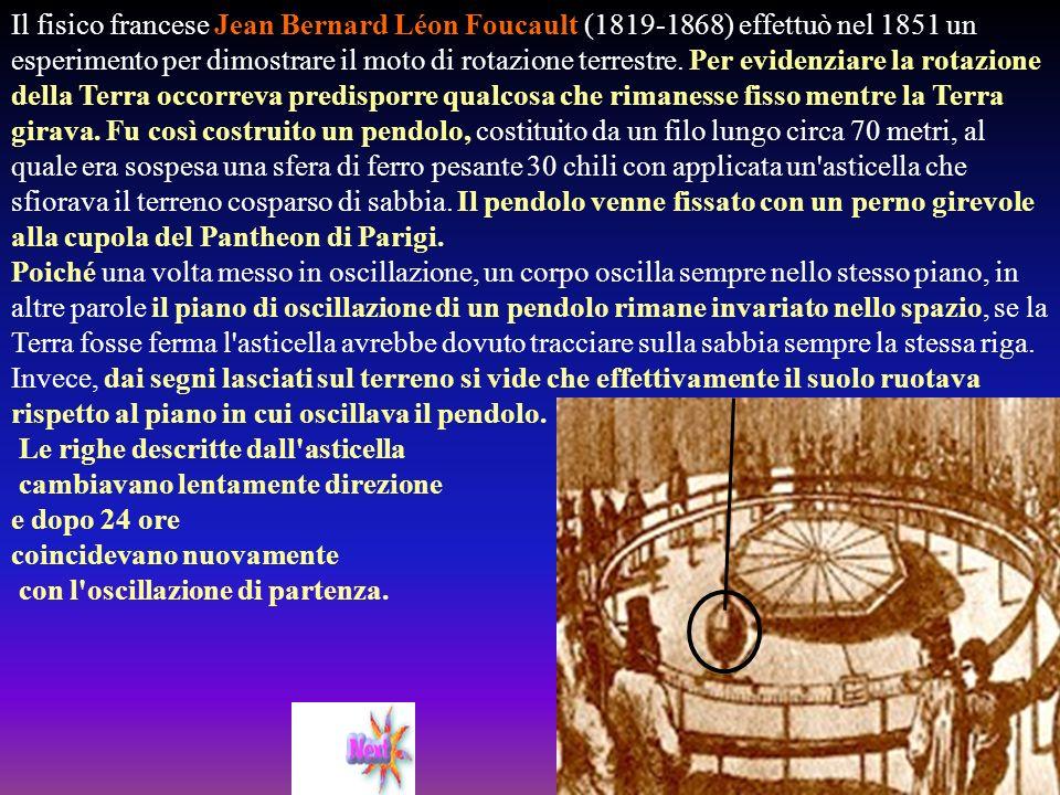 Il fisico francese Jean Bernard Léon Foucault (1819-1868) effettuò nel 1851 un esperimento per dimostrare il moto di rotazione terrestre. Per evidenziare la rotazione della Terra occorreva predisporre qualcosa che rimanesse fisso mentre la Terra girava. Fu così costruito un pendolo, costituito da un filo lungo circa 70 metri, al quale era sospesa una sfera di ferro pesante 30 chili con applicata un asticella che sfiorava il terreno cosparso di sabbia. Il pendolo venne fissato con un perno girevole alla cupola del Pantheon di Parigi. Poiché una volta messo in oscillazione, un corpo oscilla sempre nello stesso piano, in altre parole il piano di oscillazione di un pendolo rimane invariato nello spazio, se la Terra fosse ferma l asticella avrebbe dovuto tracciare sulla sabbia sempre la stessa riga. Invece, dai segni lasciati sul terreno si vide che effettivamente il suolo ruotava rispetto al piano in cui oscillava il pendolo.