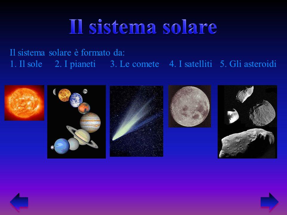 Il sistema solare Il sistema solare è formato da: