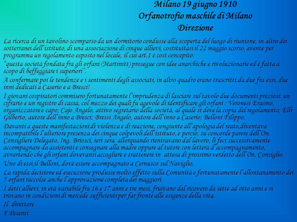 Milano 19 giugno 1910 Orfanotrofio maschile di Milano Direzione