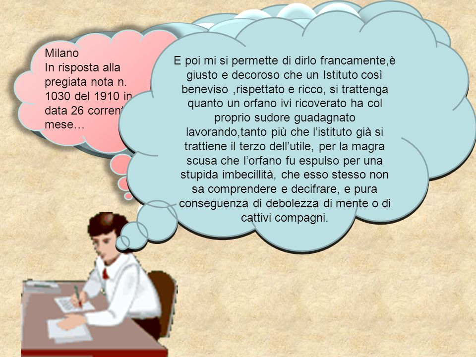 Il sottoscritto Alberto Fontana, tutore dell'alunno si permette di presentare questa nuova istanza, onde maggiormente far conoscere a codesto onorevole consiglio gli estremi bisogni dell'orfano Veronesi.