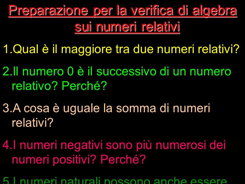 Preparazione per la verifica di algebra sui numeri relativi