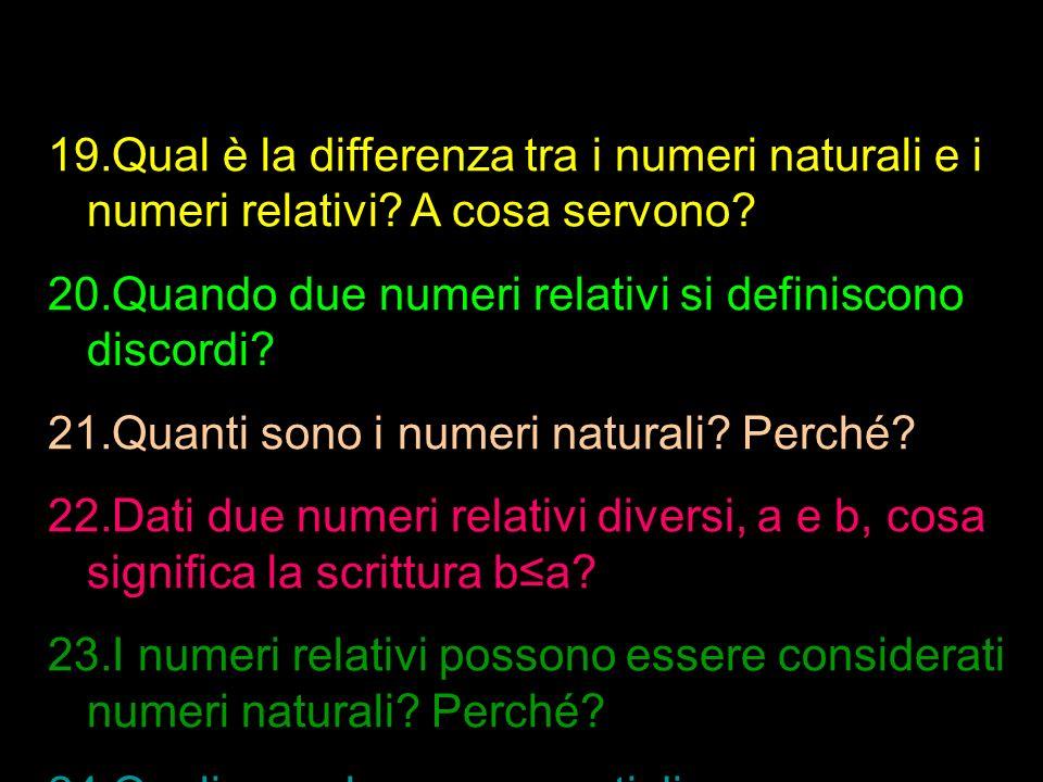 Qual è la differenza tra i numeri naturali e i numeri relativi