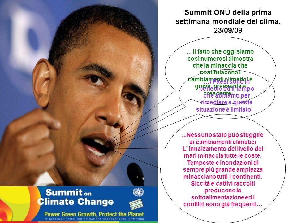 Summit ONU della prima settimana mondiale del clima. 23/09/09