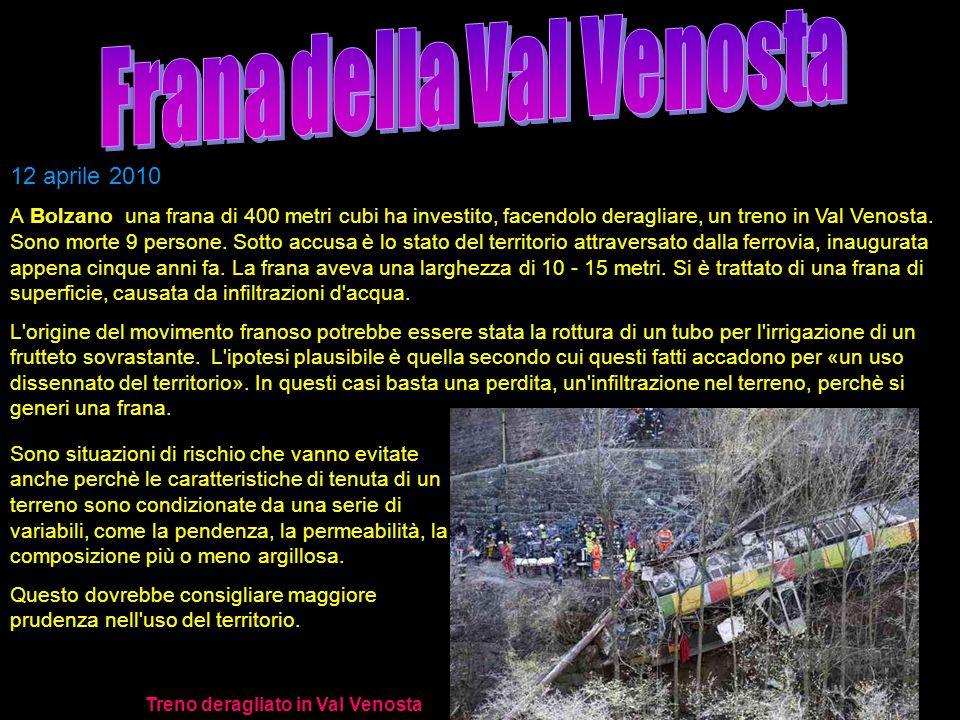 Frana della Val Venosta Treno deragliato in Val Venosta