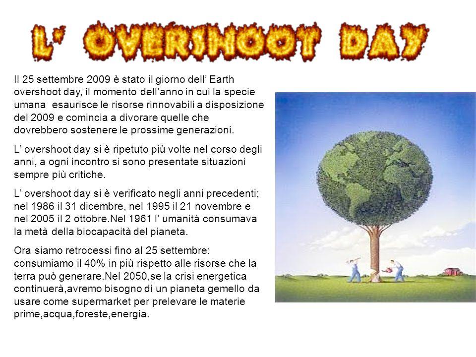 Il 25 settembre 2009 è stato il giorno dell' Earth overshoot day, il momento dell'anno in cui la specie umana esaurisce le risorse rinnovabili a disposizione del 2009 e comincia a divorare quelle che dovrebbero sostenere le prossime generazioni.
