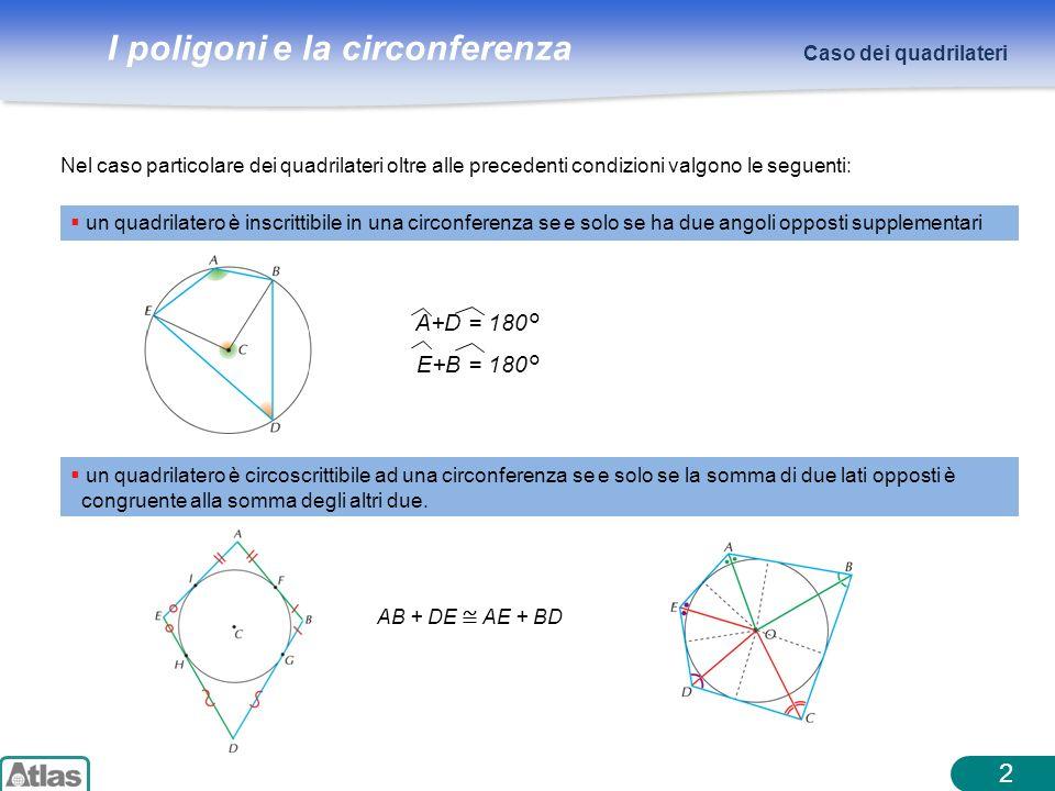 2 A+D = 180° E+B = 180° Caso dei quadrilateri