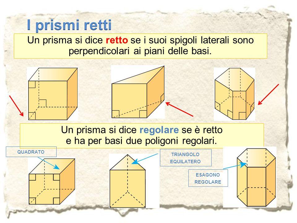I prismi rettiUn prisma si dice retto se i suoi spigoli laterali sono perpendicolari ai piani delle basi.